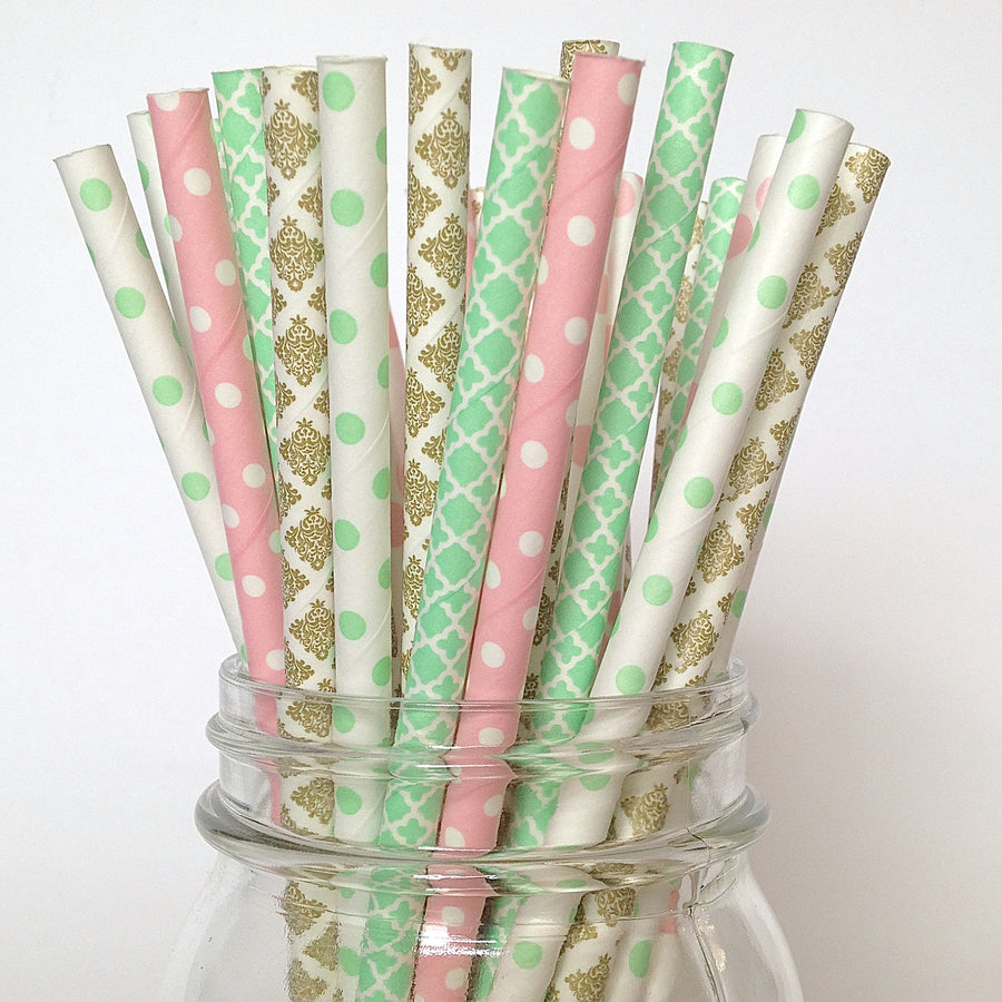 Mint, Pink and Gold Bridal Tea Paper Straws