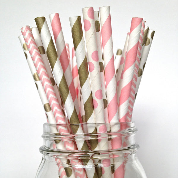 pink and gold straws