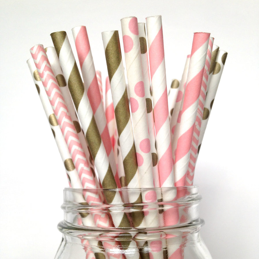 pink and gold polka dot straws
