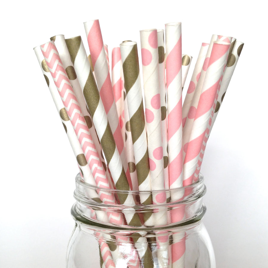 pink gold polka dot straws