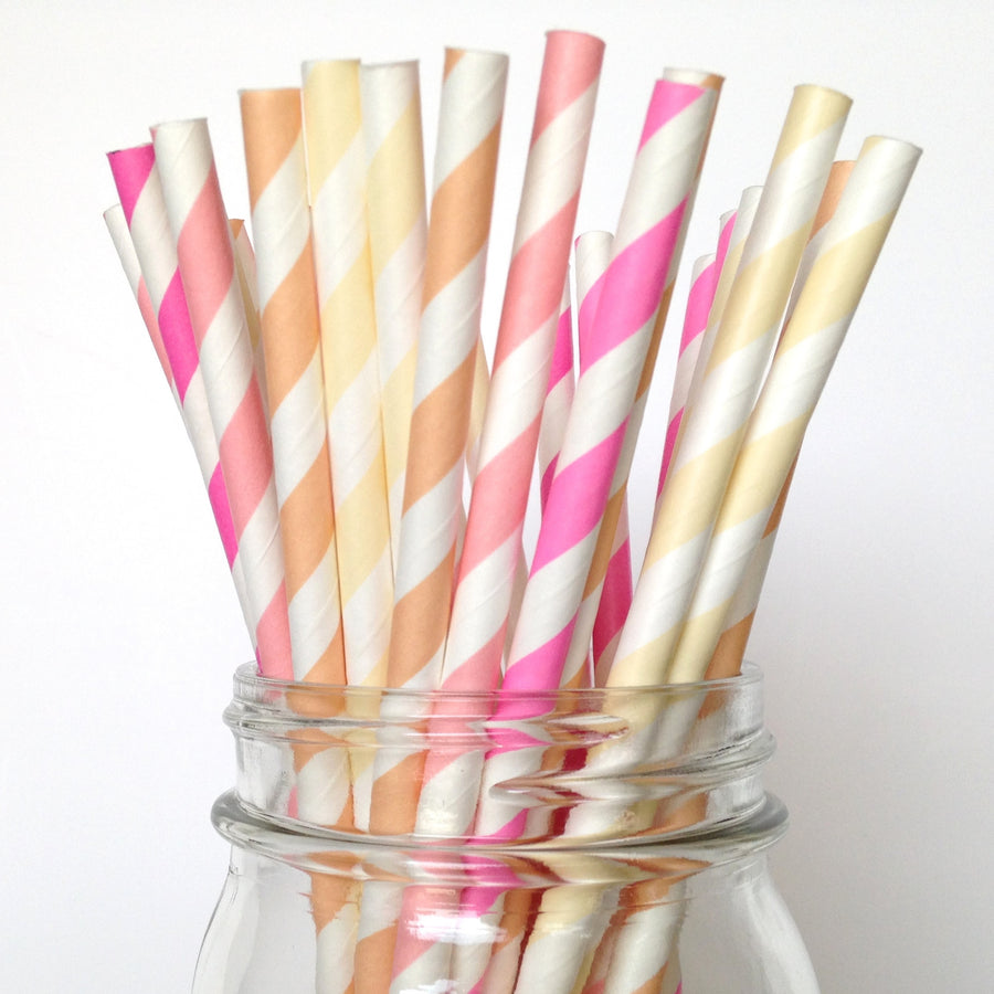 Pink Ombre Striped Paper Straws