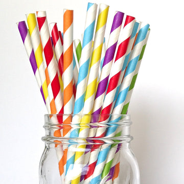 classic rainbow striped paper straws