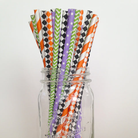 Patchy Pumpkin Kids Halloween Party Straws