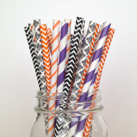 black orange straws