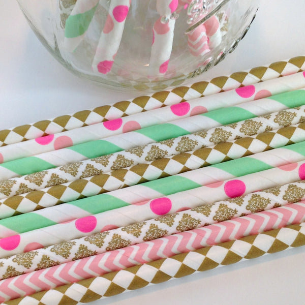 Mint Chic Gold and Pink Birthday Party Straws