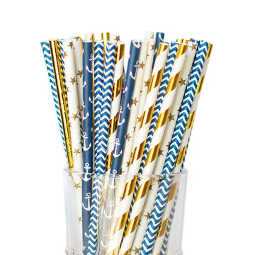 nautical straws navy and gold
