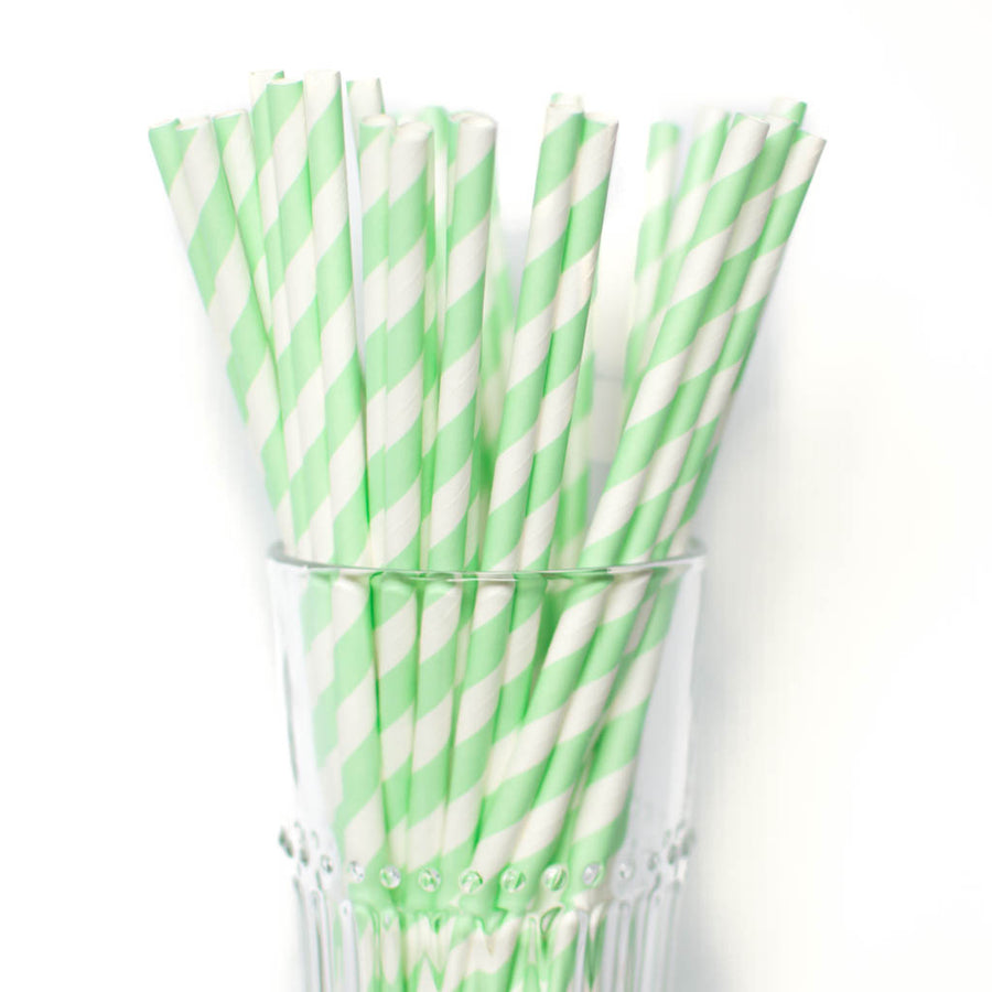 mint striped straws