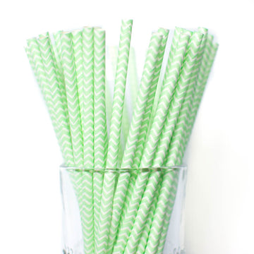 Mint Chevron Straws