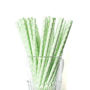 mint damask straws
