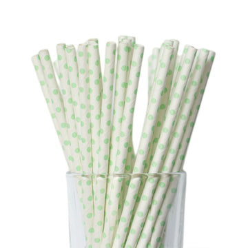 Mini Mint Polkadot Straws
