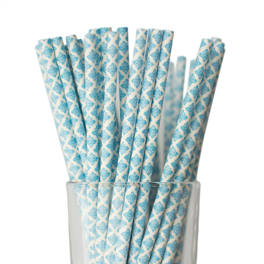 Dark blue damask paper straws
