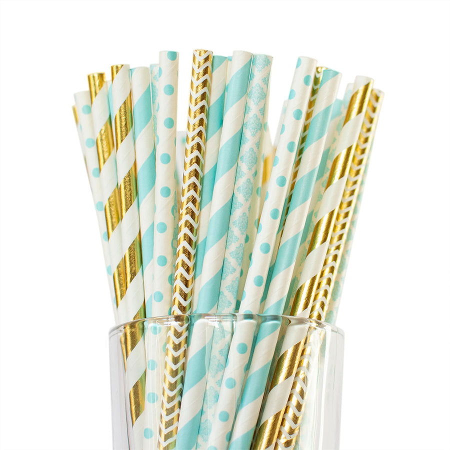 blue baby shower straws