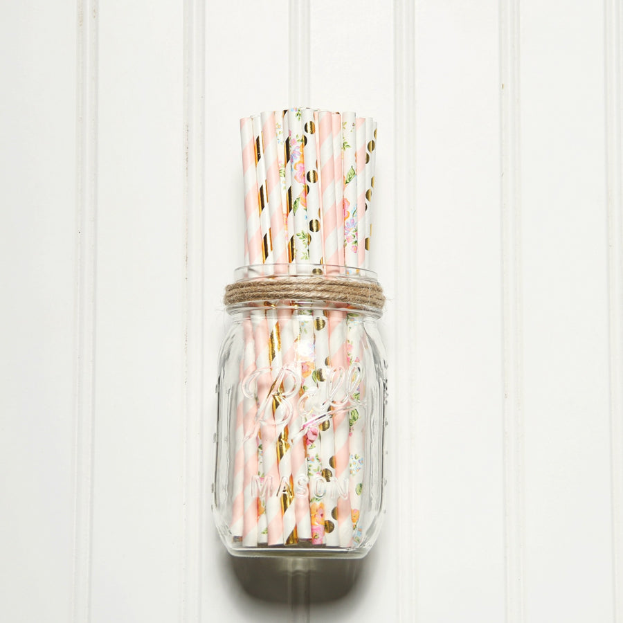 straws in glass jar
