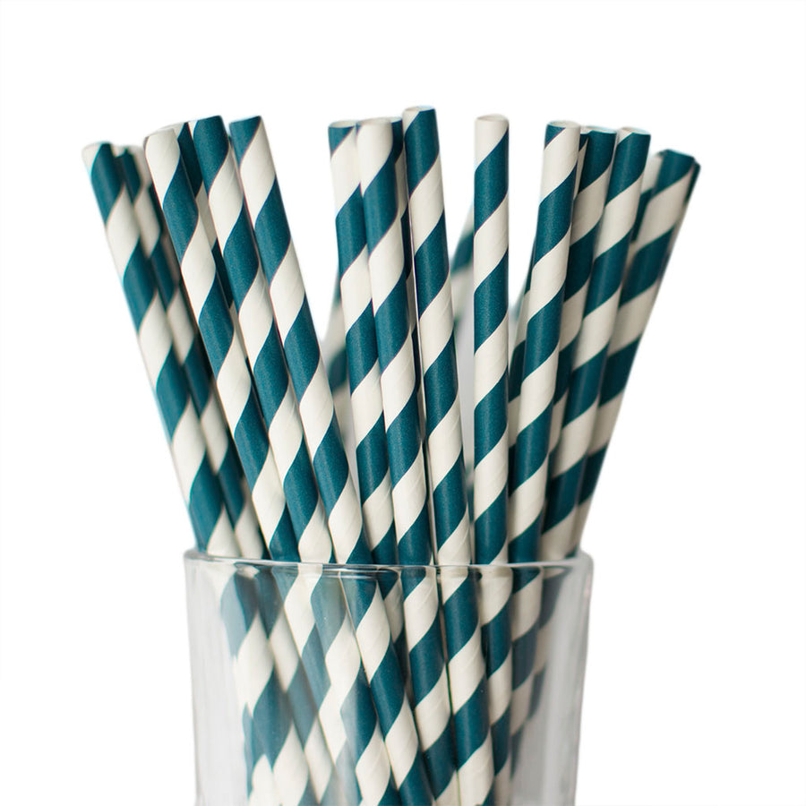 Navy Blue Striped Straws