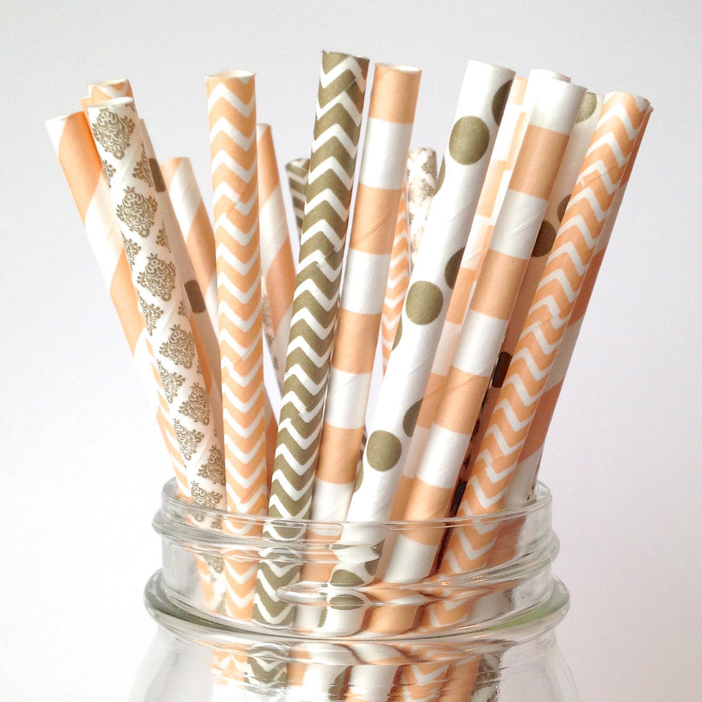 Peach and Gold Paper Straws