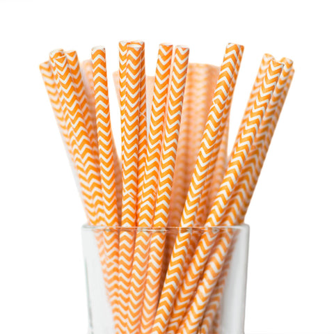 Orange Chevron Straws