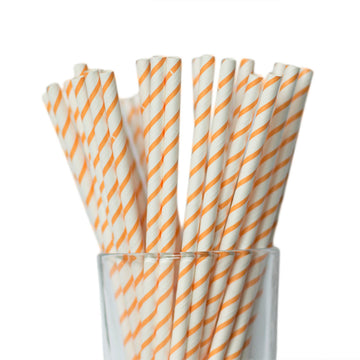 orange striped straw