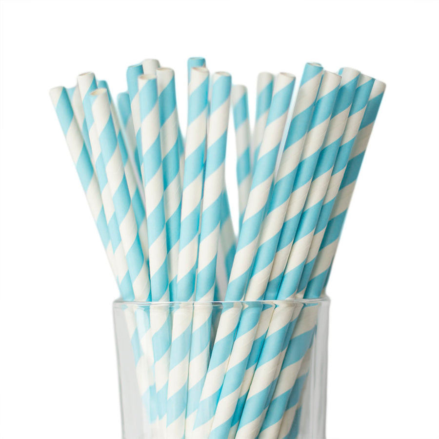 light blue striped straws