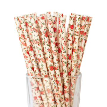 Pink Floral Straws