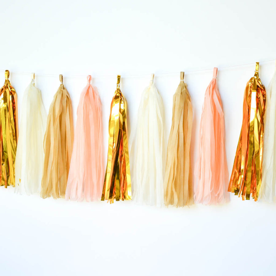 peach gold tassel garland