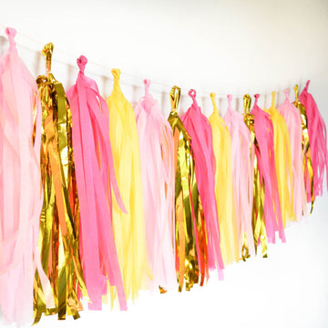 pink yellow gold garland