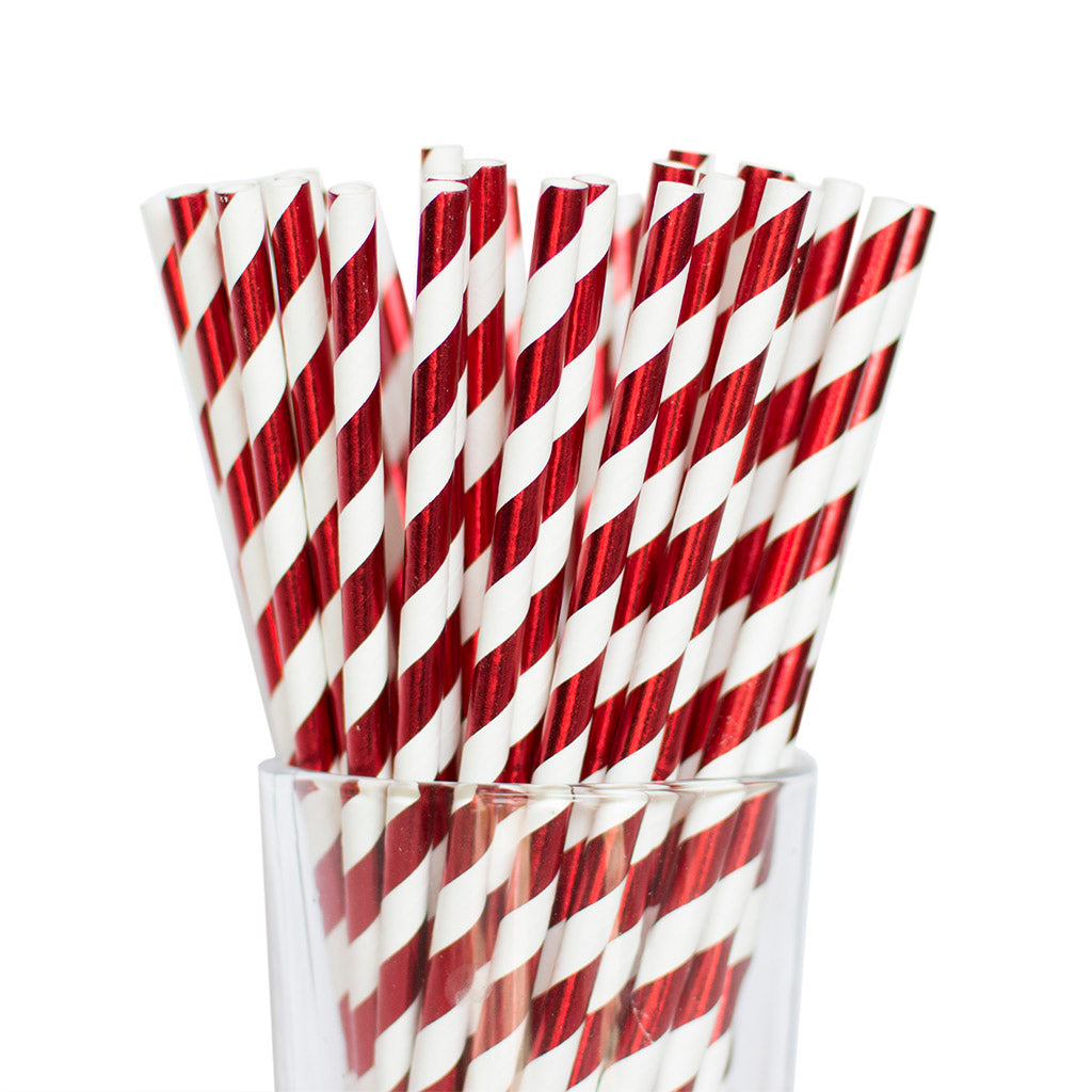 Metallic Red Striped Straws