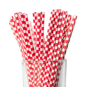 red checkerboard straws