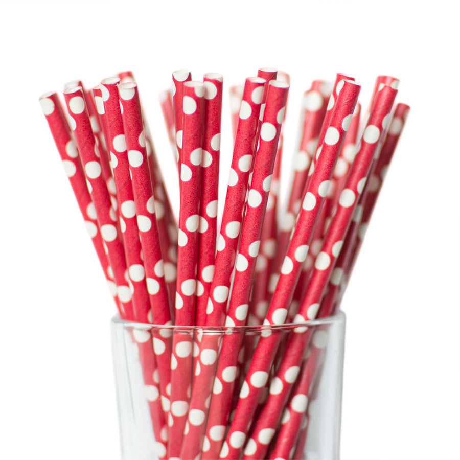 white and red polkadot straws