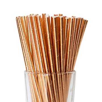 rose gold foiled straws