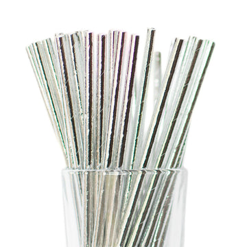 solid printed silver straws