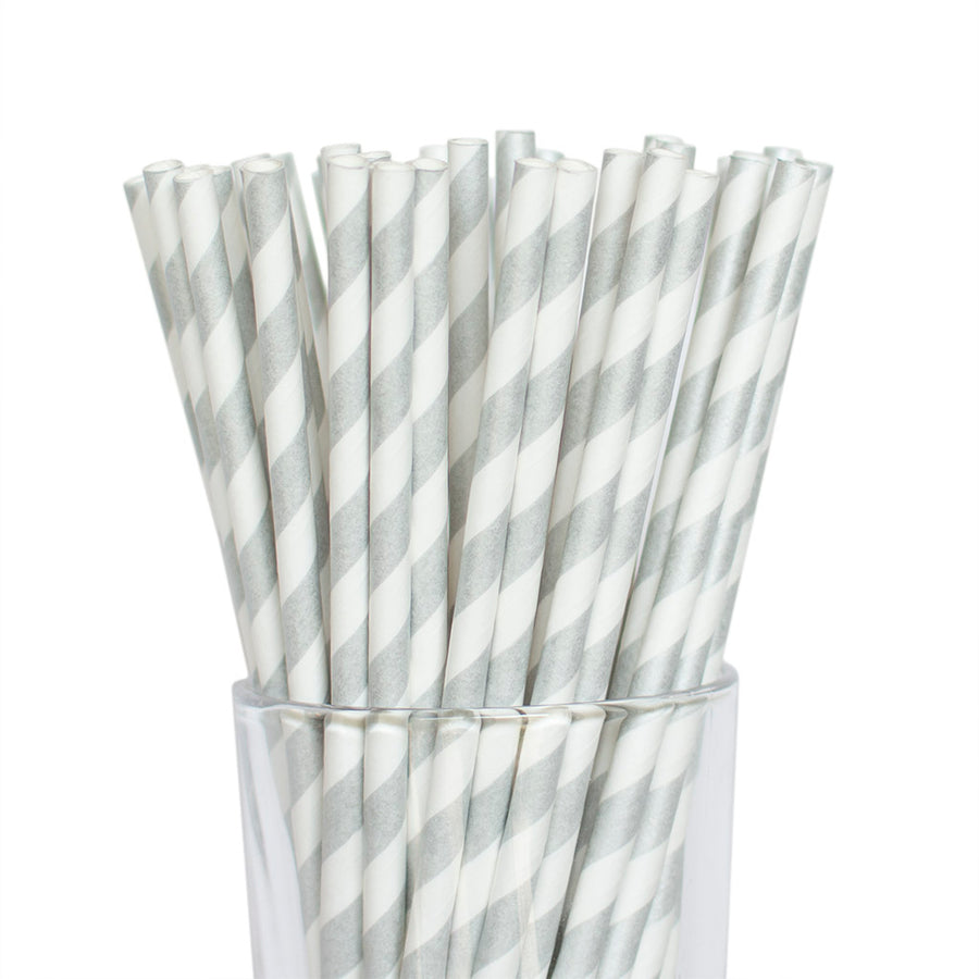 Silver Striped Straws