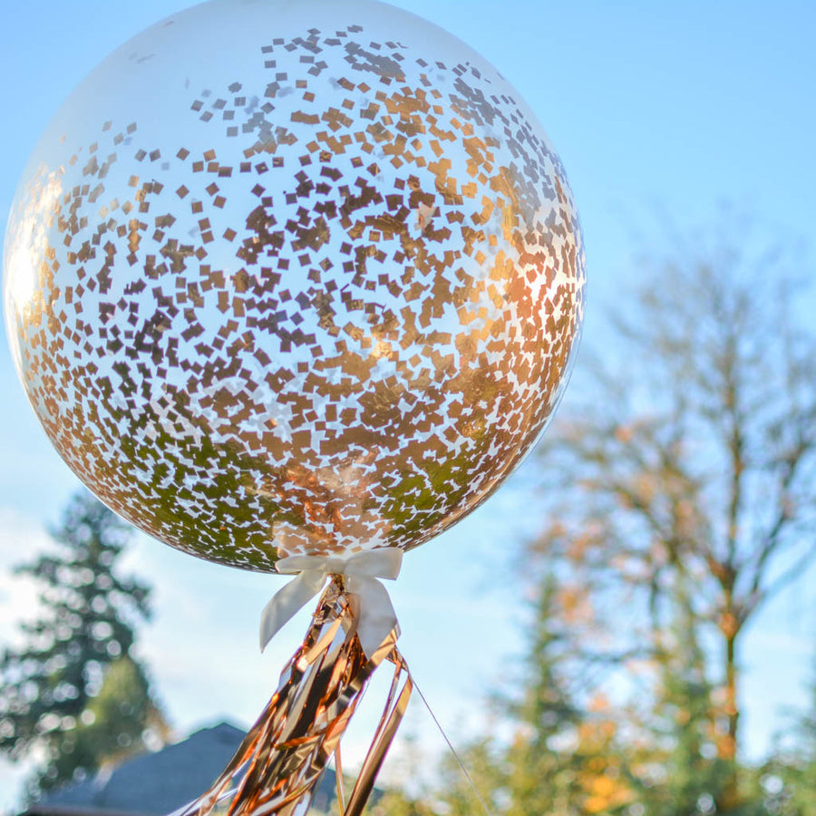 rose gold confetti balloon