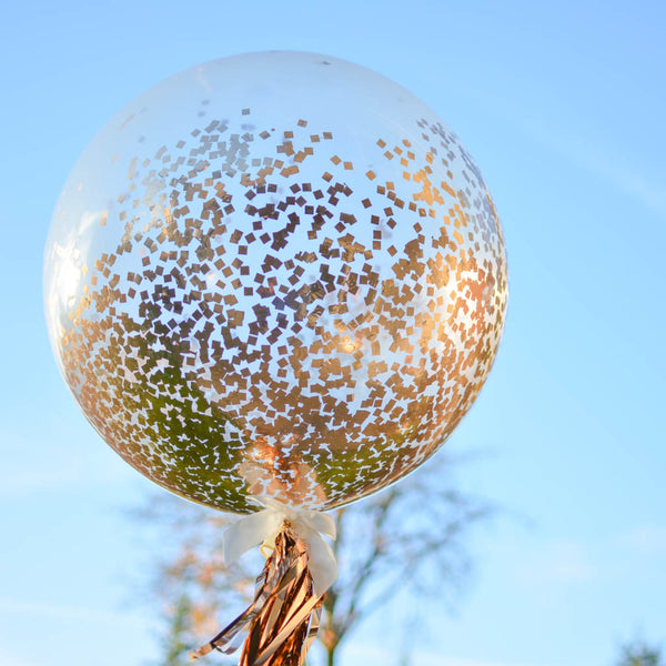 Giant Rose Gold Confetti Balloon Clear Balloon Filled