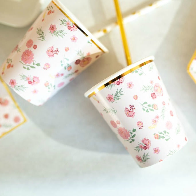 pink floral paper cups