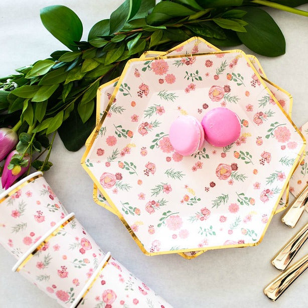 pink floral paper plates