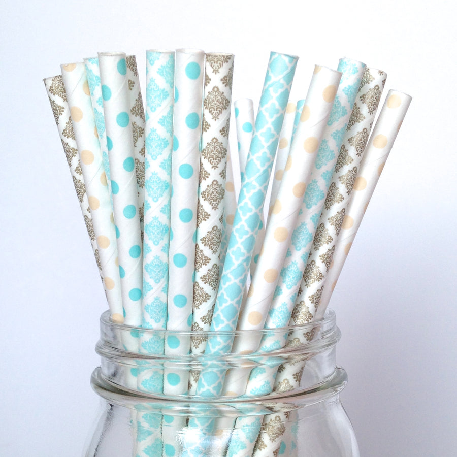 light blue and gold straws