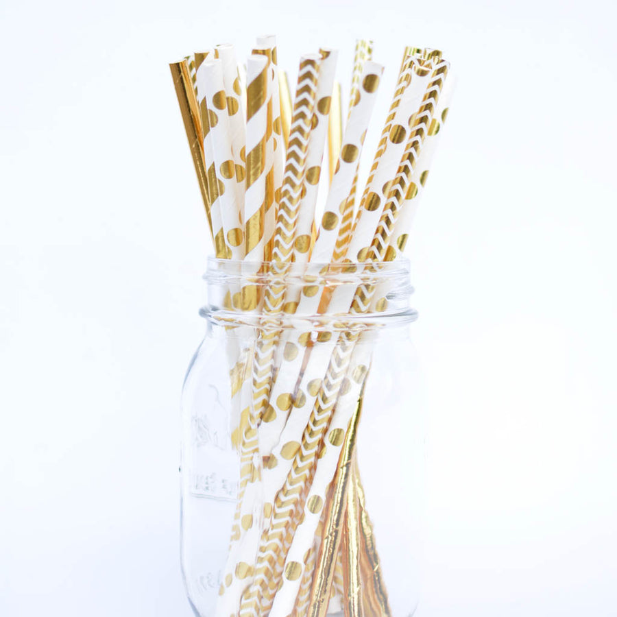 shiny gold straws