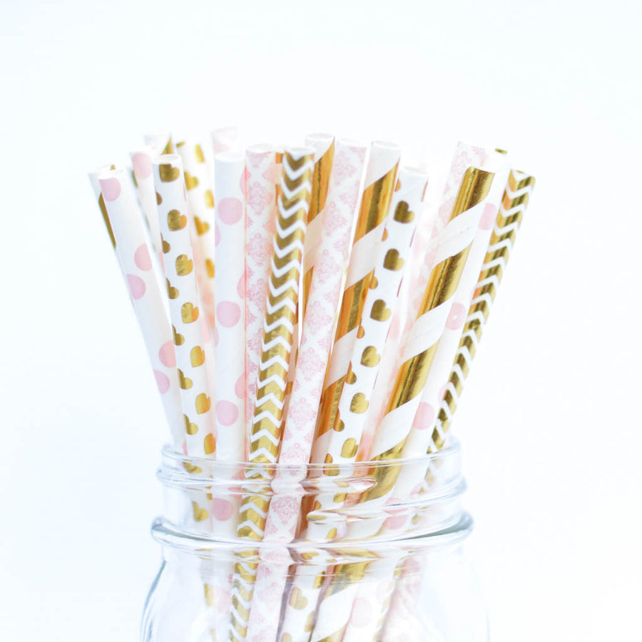 pink and gold valentine straws