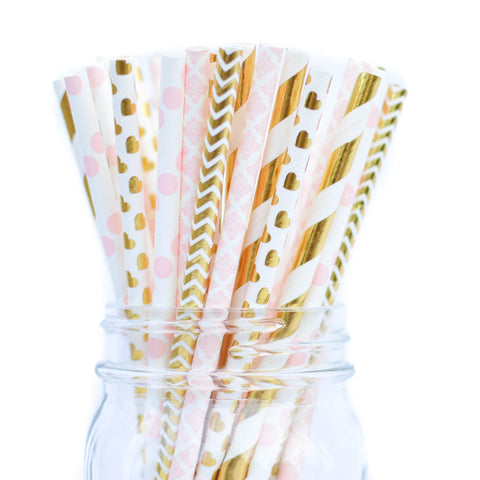 pink gold baby shower straws