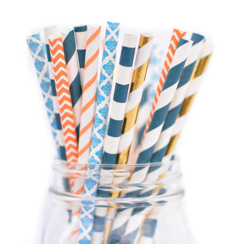 nautical navy orange straws
