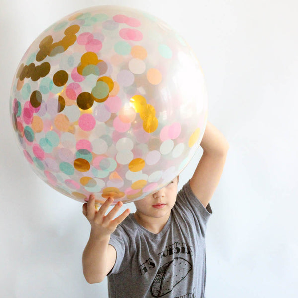 Giant Confetti Balloon filled with Unicorn Pastel and Gold Confetti