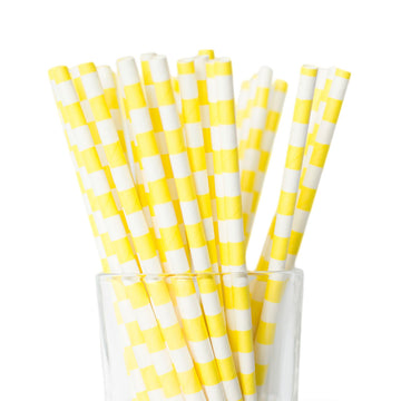 yellow nautical striped straws