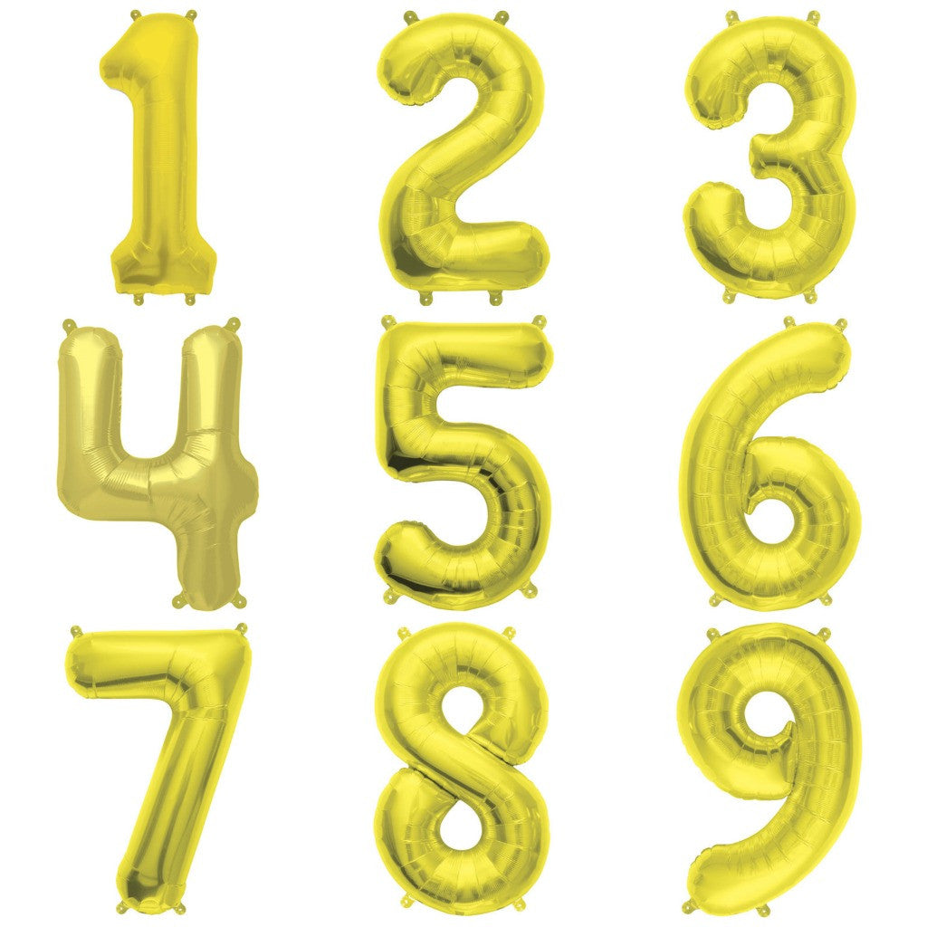 mini gold number balloons
