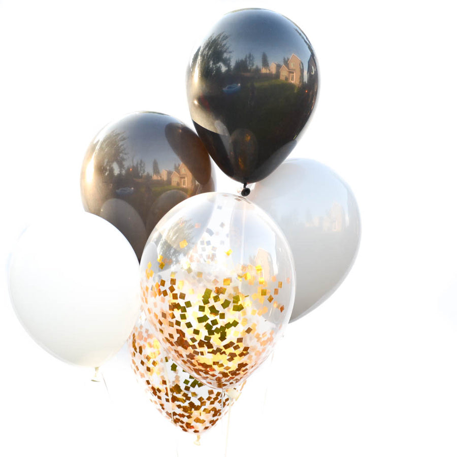 black and gray balloons