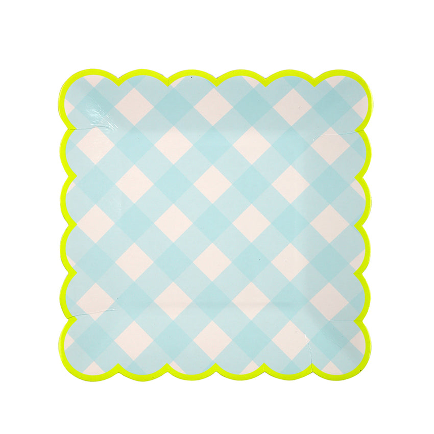 baby blue gingham plates