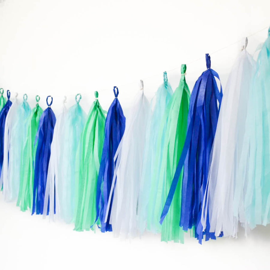 blue and mint tassel garland