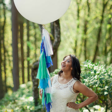 blue balloon tassels