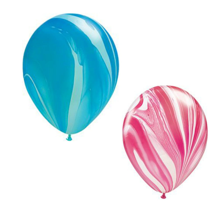 pink and blue marble balloons