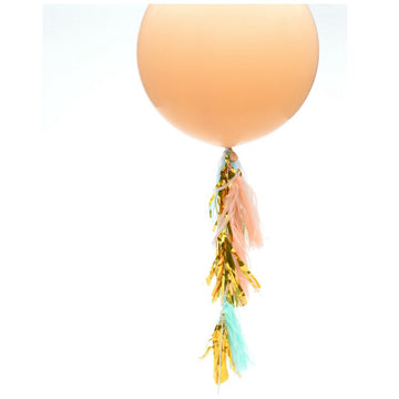 Mint Peach Gold Tissue Balloon Tassels