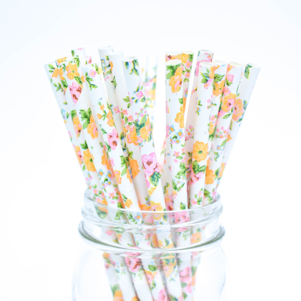 Floral Paper straws
